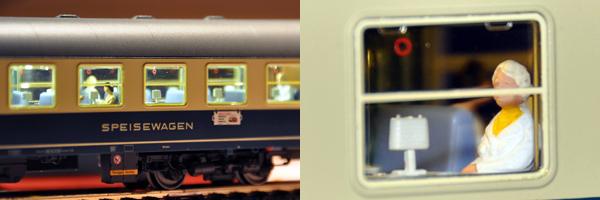 Licht und Fahrgäste im Speisewagen